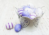 Easter eggs in a metal pot — Stock Photo