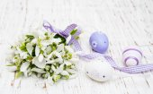 Snowdrops and easter eggs — Stockfoto