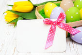 Card with fresh flowers tulips — Stock Photo