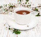 Cup of tea and spring blossom — Foto Stock