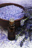 Lavender oil with bath salt and fresh lavender — Stock Photo
