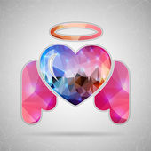 Abstract Creative concept vector icon of angel heart for Web and Mobile Applications isolated on background. Vector illustration template design, Business infographic and social media, origami icons. — Stock Vector