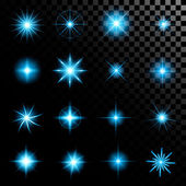 Creative concept Vector set of glow light effect stars bursts with sparkles isolated on black background. For illustration template art design, banner for Christmas celebrate, magic flash energy ray. — Stock Vector