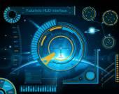 Абстрактные будущего, концепция вектор футуристический синий виртуальный графический пользовательский интерфейс Hud. Для мобильных приложений, изолированных на черном фоне, техно, онлайн дизайн, Бизнес, gui, интерфейс, веб, сайт. — Cтоковый вектор