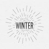Abstract Creative concept vector design layout with text - winter. For web and mobile icon isolated on background, art template, retro elements, logo, identity, labels, badge, ink, tag, card. — Vetor de Stock