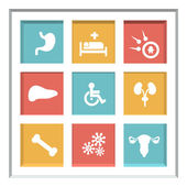 Abstract creative concept vector set of healthcare and medical icons for web and mobile app isolated on background, art illustration template design, business infographic and social media, symbol. — Stock Vector