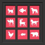 Abstract creative concept vector set of animals icons for web and mobile app isolated on background, art illustration template design, business infographic and social media, symbol. — Stock Vector