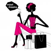 Shopping girl silhouette — Stock Vector