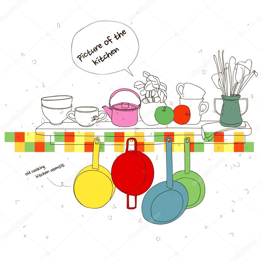 厨房里的图片 — 图库矢量图像08