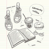 Still life of book and shoes — Stockvektor
