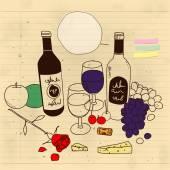 Martwa natura z wina — Wektor stockowy