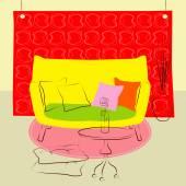 Yellow sofa living room — Stock vektor