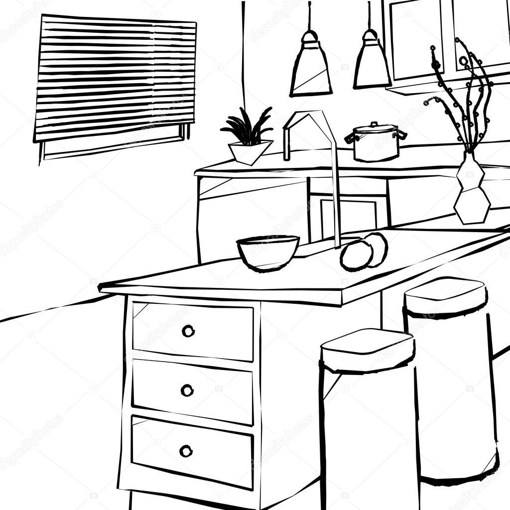 Desenho de interiores cozinha Interior simples — Ilustração de  #666666 1024 1024