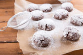Homemade chocolate crinkles cookies with powdered sugar. — Stock Photo