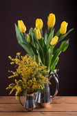Two spring yellow bouquet of flowers — Stock Photo