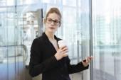 使用一个数字平板的女商人 — 图库照片