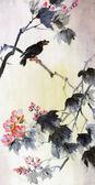 Pássaro em um galho de sakura — Fotografia Stock