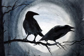 Two black crows on a branch — Stock Photo
