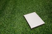 Witte lederen boek liggen op het gras — Stockfoto