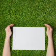 Hand holding blank sheet of paper over green grass — Stock Photo #70612513