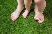 Mother and baby legs standing  on green grass — Stock Photo