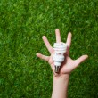 Human hand holding energy saving lamp — Stock Photo #77419508