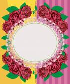 Greeting card - pink roses — 图库照片