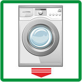 Closed washing machine on white background. Vector — Stock Vector