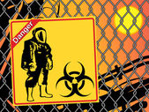 Biohazard warning on yellow sign. Danger — Stock Vector