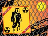 Radiation suit - sign radiation. Danger — Stock Vector