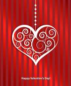 Happy valentines day cards with ornaments, hearts — Vettoriale Stock
