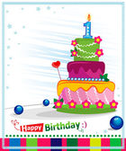 First Birthday Cake. Children postcard. Day of birth. — Stock Vector