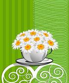 Ευχετήρια κάρτα με μαργαρίτες και περιλήψεις φόντο. Χαμομήλι f — Διανυσματικό Αρχείο