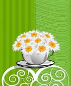 Greeting card with daisies and abstracts background. Chamomile f — Stock Vector