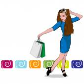 The beautiful young girl with shopping Bag — Stock Vector