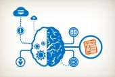 Newspaper and abstract human brain — Stockvektor