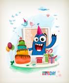 Monster Birthday Vector. — Stock Vector