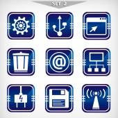 Blue icons-set 2. IT technology — Stock Vector