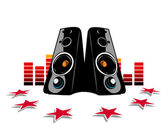 Two audio speakers and red equalizer. — Stock Vector