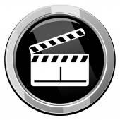 Glossy clapper boards web icon — Stock Vector