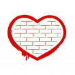 Red heart on brick wall. — Stock Vector #68140009
