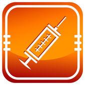 Medical syringe with vaccine - orange vector icon — Stock Vector