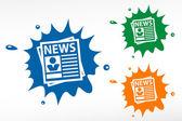 Newspaper on color blob. Vector illustration. — Stock Vector