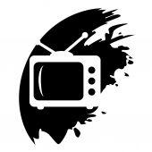 TV grunge vector icon — Stock Vector