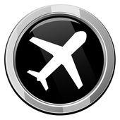 Airplane - black round icon — Stok Vektör