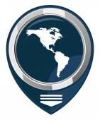 Americas map pointer — Stock Vector