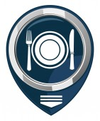 Dish, fork and knife. Map pointer — Vector de stock