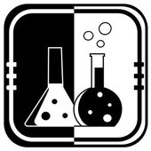 Flask with chemical reagent - on black and white button — Stock Vector