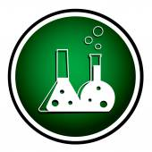 Flask with chemical reagent - green icon — Stock Vector