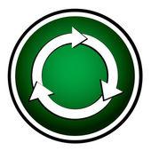 Arrows circle vector green round icon — Stock Vector